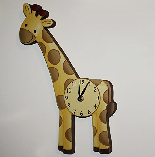 Giraffe Wooden WALL CLOCK for Kids Bedroom Baby Nursery W...