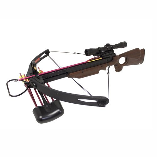 Spider 150 lb Real Wood Compound Crossbow 4×32 Scope + Extra Arrows + Quiver + Rope Cocking Device + Broadheads and Carrying Bag Package