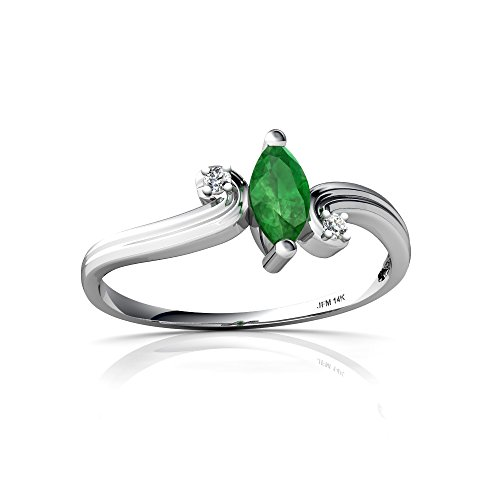 Genuine Marquise Emerald Ring (14kt White Gold Emerald and Diamond 6x3mm Marquise Ocean Waves Ring - Size 7)