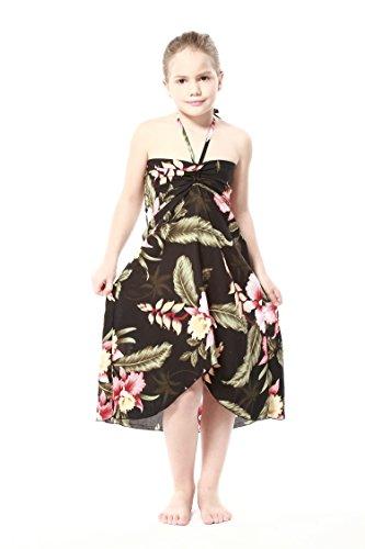 Girl Hawaiian Halter Dress in Black Rafelsia