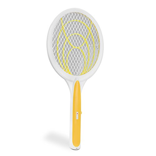 Handheld Best Electric Bug Fly Zapper Racket Mosquito Swatter Racket Tennis Unique 3 Layer Safety Mesh for Summer Indoor and Outdoor, Large Zap Pest and Insect Control Heavy Duty (yellow)