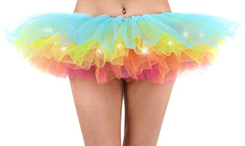 Lighted Tutus for Women Ballet Tutu Skirts Rainbow]()