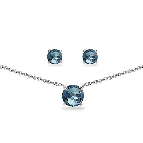 GemStar USA Sterling Silver London Blue Topaz Round Solitaire Choker Necklace and Stud Earrings Set (Birthstone Topaz Set)