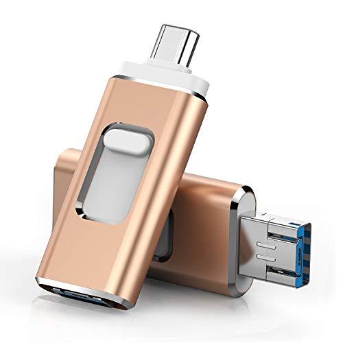 USB C flash drive 128GB3.0 drive BOTOhigh speed USB dual drive 3-in-1 OTG jump drive for USB-C smartphone tablet, new Macbook, Samsung Galaxy S8, S8 Plus, Note 8, LG G6, V30, Google Pixel XL(Gold-128)