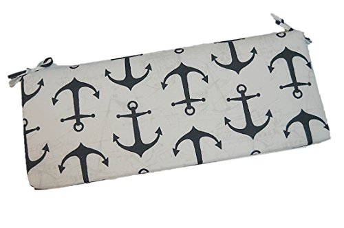 Indoor / Outdoor White with Large Charcoal Gray Anchors Nautical 2