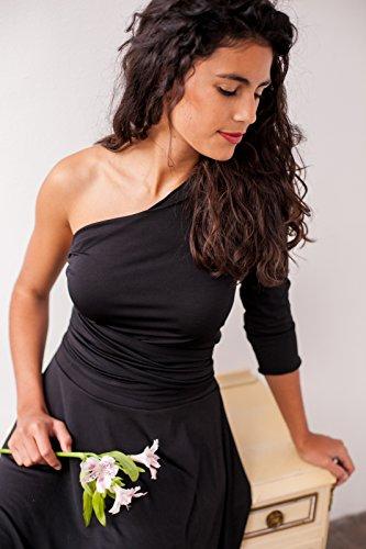 Black maxi dress, wrap dress, long dress, black dress, black long dress, evening dress, long sleeve convertible dress, black maxi wrap dress by Mimètik Bcn
