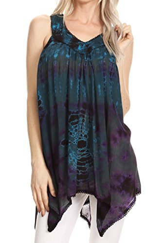 Sakkas 17790 - Nalu Sleeveless Relaxed Fit Multi Color Tie Dye V-Neck Blouse | Cover Up - Teal - (Crinkle Cotton Sleeveless Top)