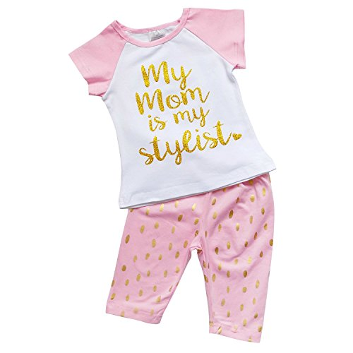 So Sydney Girls Toddler Fun Sayings Short Sleeve T-Shirt Top Capri Pants Outfit (XS (2T), Mom (Boutique Clothing For Toddlers)