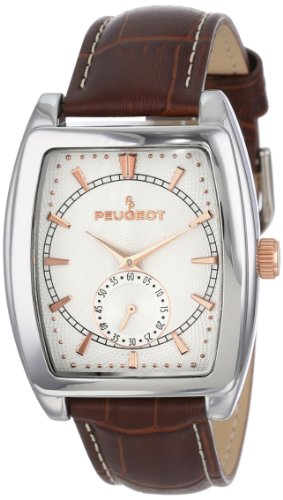 Peugeot Mens Rectangular Shape Wrist Watch with Remote Sweep Seconds Hand Dial Matching Color Genuine Leather Strap Band