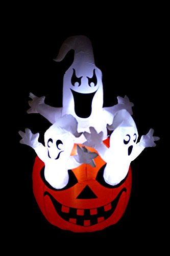 BZB Goods 5 Foot Tall Halloween Inflatable Three Ghosts with Pumpkin LED Lights Decor Outdoor Indoor Holiday Decorations, Blow up Lighted Yard Decor, Lawn Inflatables Home Family Outside by BZB Goods (Image #3)