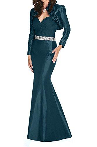 Langarm La Jaket mia Abendkleider Taft mit Langes Etuikleider Festlichkleider Partykleider Dunkel Braut Tuerkis Ballkleider ar46qaZ
