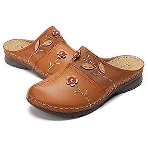 gracosy Mules Donna Zoccoli Pantofole in Pelle Estate Loafer Goma Spiaggia Sandali Mules Piatto Scarpe Slip-On Backless Antiskid Tondo Boemo