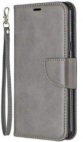 LG K50 ケース, OMATENTI PUレザー手帳型 ケース, 薄型 簡約風 人気 新品 財布 フリップカバー スマホケース, LG K50 用 Case Cover, マグネット開閉式 スタンド機能 カード収納 付き, グレー