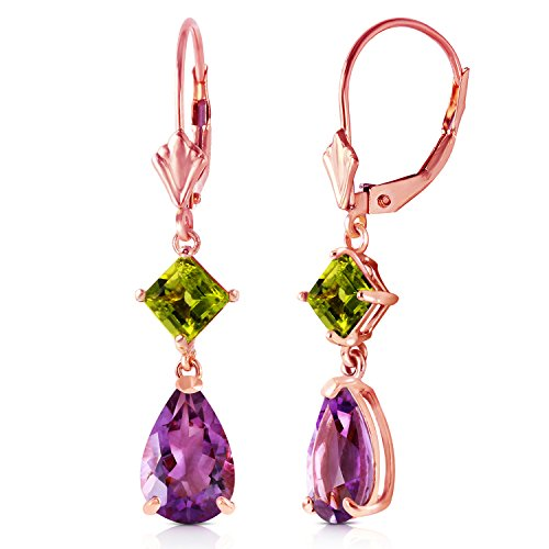 Rose Gold Dangling Earrings with Natural Amethysts and Peridots ()