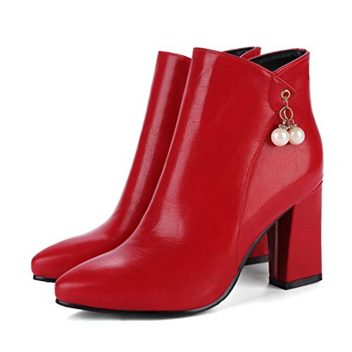 and High Boots Autumn Thick Fashion Heel Winter Martin Red Boots Pointed Bridal Heeled R1a8qZ