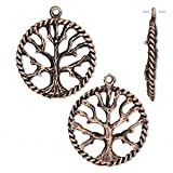 Charm antique copper-plated pewter (tin-based alloy) 22mm tree of life-H20-8417FY