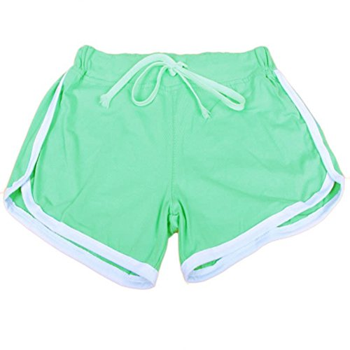 (MZjJPN Women Sports Yoga Shorts Workout Fitness Running Sport Shorts Cotton High Waist Gym Cycling Sport Short Gold S)