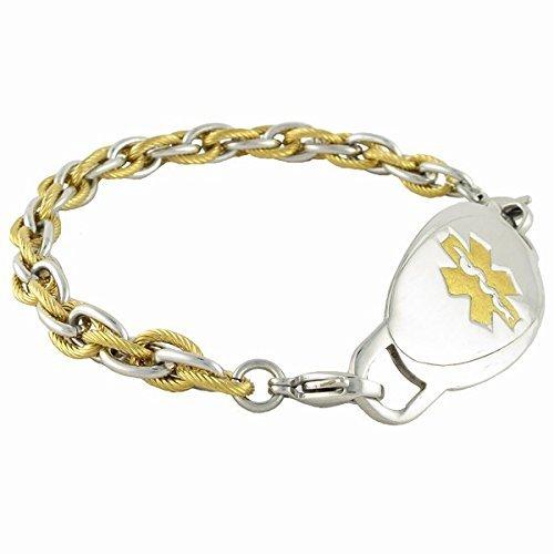 Medical Alert Bracelet for Men Diabetes Other Conditions available Pegasus – Gold, 8