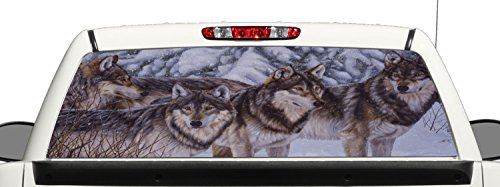 Wolf Window Graphics - Truck SUV Wolf Pack Rear Window Graphic Decal Perforated Vinyl Wrap