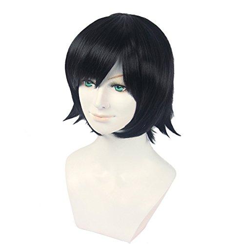HH Building Zankyou no Terror Lisa Mishima Cosplay Wig Layered Short Anime Costume Hair Wig (Balck)