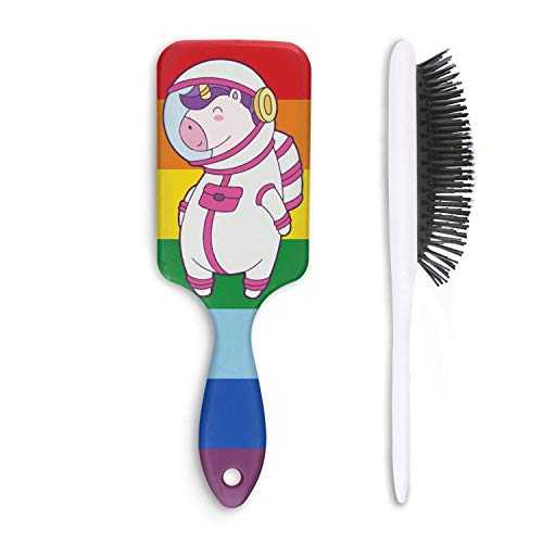 Unisex Detangle Hair Brush Cute Unicorn Astronaut Boar Bristle Paddle Hairbrush for Wet, Dry, Thick, Thin,Curly hair