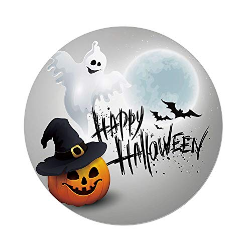 Polyester Round Tablecloth,Halloween,Happy Celebration Typography Stained Look Cute Ghost Pumpkin Hat Print Decorative,White Black Orange,Dining Room Kitchen Picnic Table Cloth Cover,for Outdoor Indo -