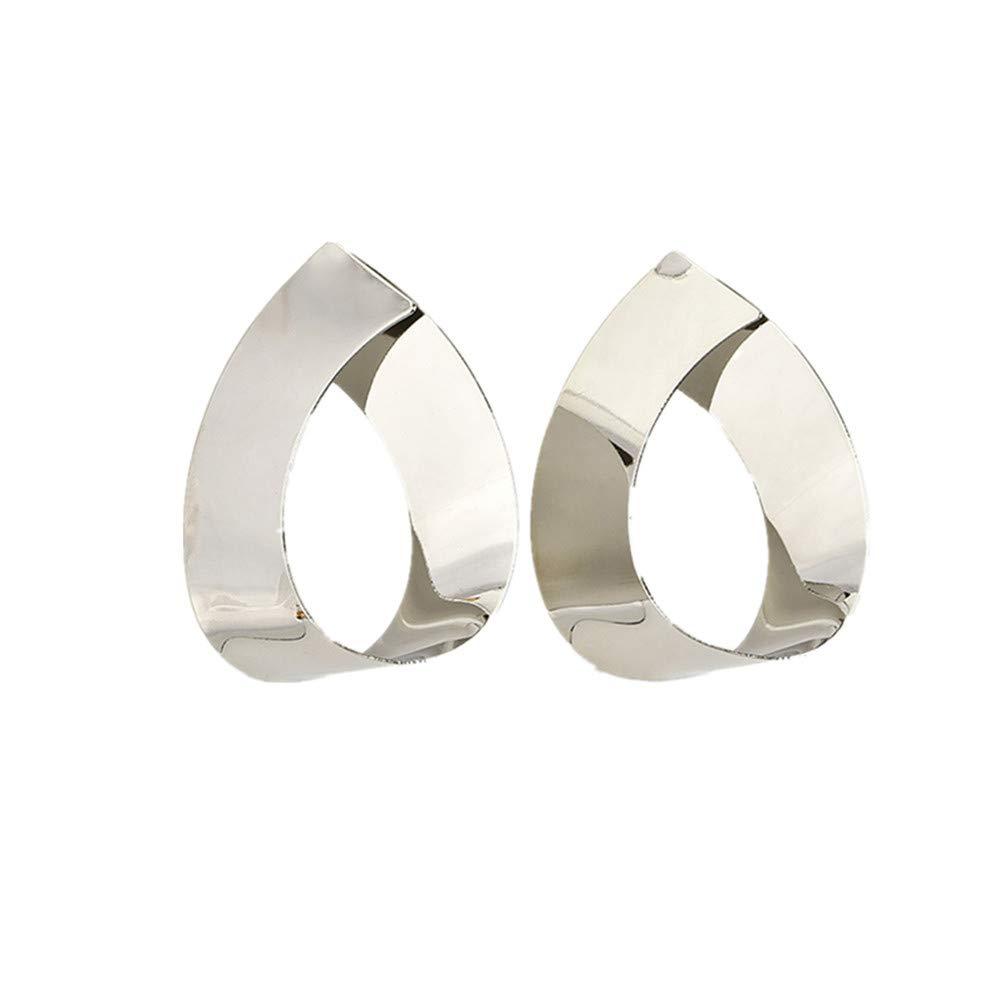 Eightgo Gold Silver Color Water Drop Hook Dangle Earrings Women Party(Silver)