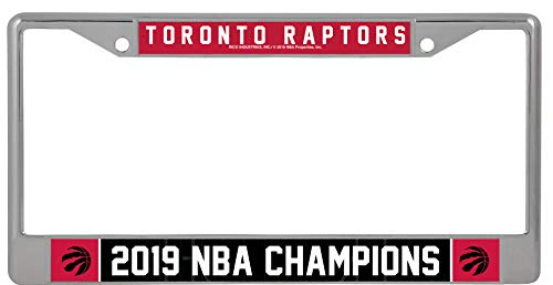 Rico Industries NBA Toronto Raptors 2019 Basketball Champions Standard Chrome License Plate Frame