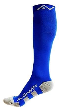 A-Swift Calcetines de compresión (1 par) para mujer y hombre (Azul, S)