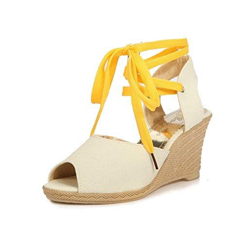 WeiPoot Women's Assorted Color Satin High-Heels Open Toe Lace-up Wedges-Sandals, Beige, 39
