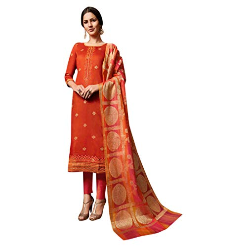 Banarasi Silk Dupatta Straight Salwar Kameez Churidar Suit Indian Fashion Punjabi - Suit Churidar Silk