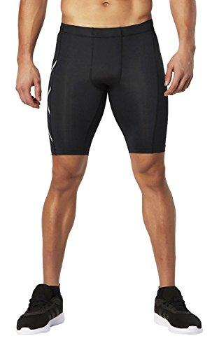 2XU Mens HYOPTIK Compression Shorts, Black/Silver Reflective, Medium
