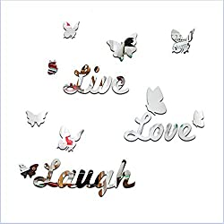 1set/16pcs 3D Butterfly Mirror Wall Stickers Art Decal Acrylic Live Love Home DIY Decor