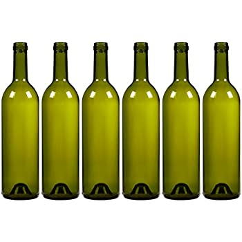 6-Pack Wine Glass Bottles - Empty, Recyclable Bordeaux Bottles for Home Brewing Alcohol