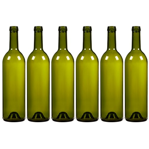 (6-Pack Wine Glass Bottles - Empty, Recyclable Bordeaux Bottles for Home Brewing Alcohol, Wine Supplies, Green)