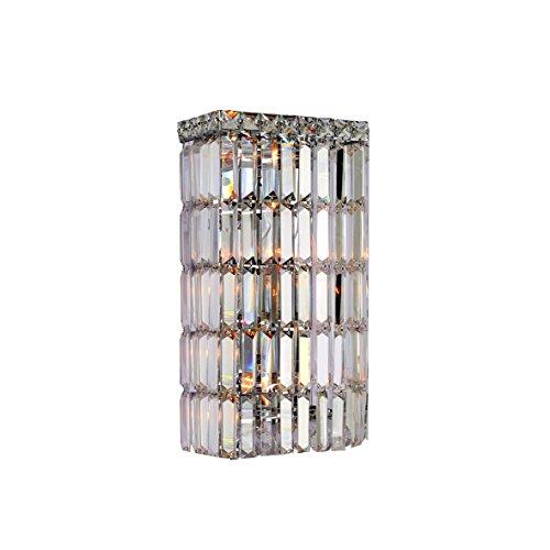 Worldwide Lighting Cascade Collection 4 Light Chrome Finish Crystal Rectangular Wall Sconce 8