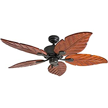 60 Quot Oak Creek Tropical Outdoor Ceiling Fan Oil Rubbed Bronze Walnut Wood Leaves Damp Rated For