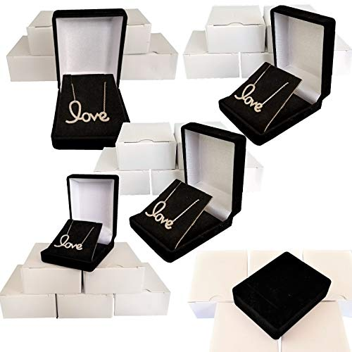5 Black Elegant Flocked Velour Necklace Pendant Gift Boxes Jewelry Displays and Boxes