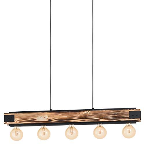 EGLO Layham - Lámpara de techo colgante con 5 luces, estilo vintage, industrial, retro, de acero y madera en negro, natural, para mesa de comedor, salón, con casquillo E27