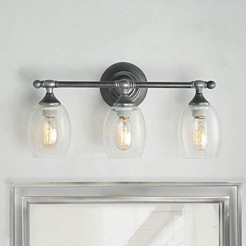 Log Barn Bathroom Vanity 3-Light Wall Sconce in Brushed Silver Finish with Clear Seeded Glass, Fixture, A03354