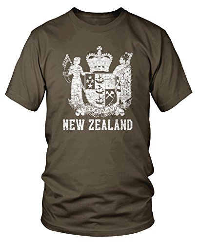 Amdesco Men's Coat of Arms of New Zealand, Kiwi Pride T-Shirt, Dark Chocolate ()