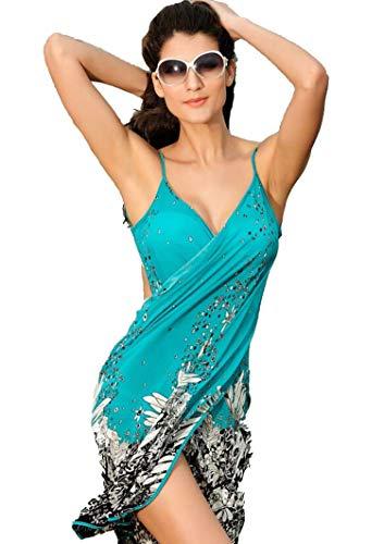Patterns Skirt Skating (Fashion Dress Explosion Models Silk Skating Slings Beach Wrap Skirt Beach Skirt,Green White Flower,M)