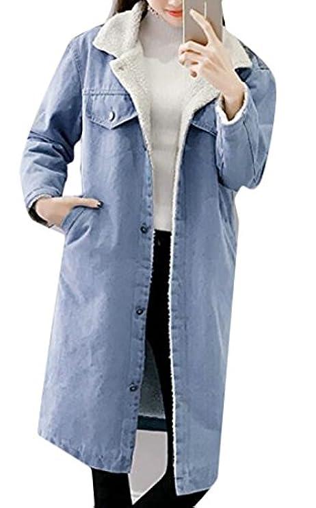 Donne Cappotto Dei Rrive Di Delle Lungo Dell'inverno Rivestimento Cappuccio Camicia Del Della Risvolto Denim Bottoni CS47qAwC