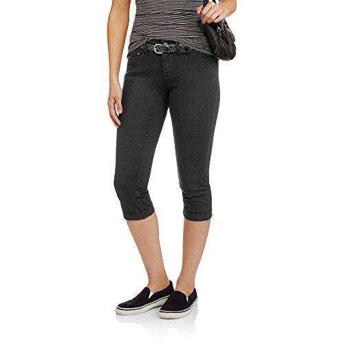 Faded Glory Women's Belted Denim Capri Pants (4, Black Soot)