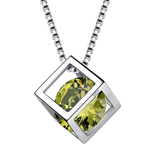 August Birthstone Necklaces Women 925 Sterling Silver Crystal 3D Cube Birth Stone Pendant Cubic Zirconia Aug. Birthday Pendant Girls Charm Dating Jewelry DP0028A