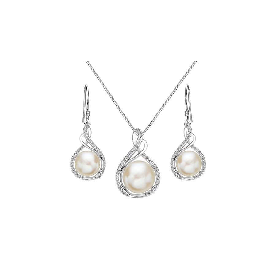 EleQueen 925 Sterling Silver CZ Cream Freshwater Cultured Pearl Infinity Bridal Necklace Hook Earrings Set Clear