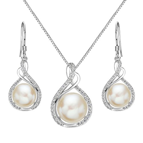 Cultured Pearl Pendant Jewelry (EleQueen 925 Sterling Silver CZ Cream Freshwater Cultured Pearl Infinity Bridal Necklace Hook Earrings Set)