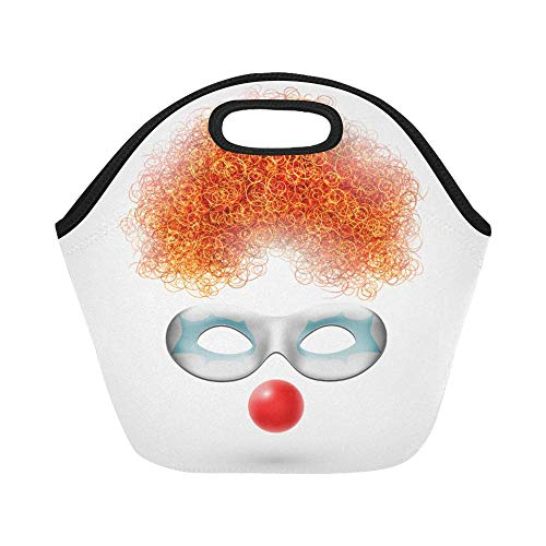 Insulated Neoprene Lunch Bag Accessories Clown Wig Mask Red Nose Large Size Reusable Thermal Thick Lunch Tote Bags Lunch Boxes For Outdoor Work Office School -