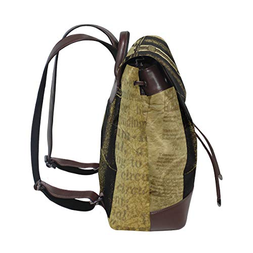 Grunge kikare ryggsäck handväska mode PU-läder ryggsäck ledig ryggsäck för kvinnor