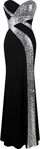 Angel-fashions Women's Strapless Sweetheart Criss-Cross Classic Black White Evening Dress (M, Black1)